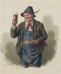 bauer mit erhobenem bierglas und brotteller by peter krämer