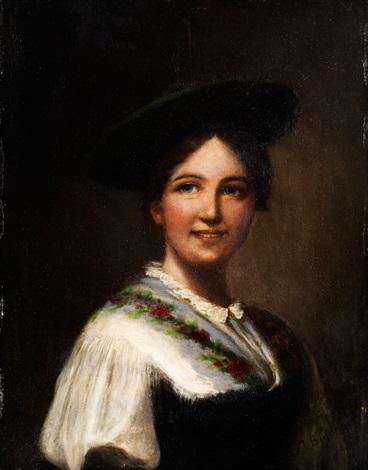 portrait eines oberbayerischen dirndls in schlierseer tracht by alois binder