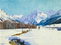 schneelandschaft bei klosters mit blick gegen silvrettagletscher, canardhorn, wisshorn und aeuja by plinio colombi