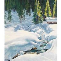 verschneiter bach mit tannenwald by marcus jacobi