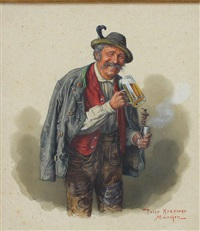 bauer mit erhobenem bierglas und pfeife by peter krämer