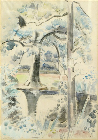 landscape with pond by paul nash