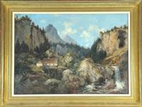 berghütte mit mühle am wildbach in felsiger gebirgslandschaft by adam vogt