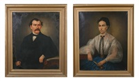 pair of 19th century portraits of man and woman by feodor encke