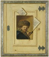trompe l'oeils mit porträts einer dame und eines herren (pair) by justus juncker