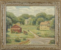 landscape with buildings and two figures by joseph b. grossman