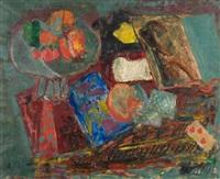 stillleben mit früchteschale und spielkarte by adolf herbst