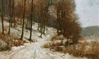 池边雪景 by alfred théodore joseph bastien