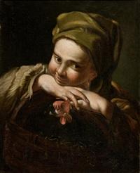 mädchen mit einem huhn by domenico maggiotto