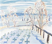finland: view of a cemetery in winter by naomi jackson groves