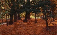暖阳下的森林 by alfred théodore joseph bastien