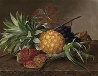 stilleben mit ananas und trauben by hansine kern-eckersberg