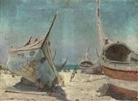 fishermen sheltering at their boats, espinho, portugal by henri van melle