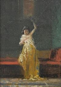 interieur mit stehender dame by antonio barzaghi-cattaneo