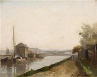 spaziergänger auf dem kanalweg by charles edmond renault