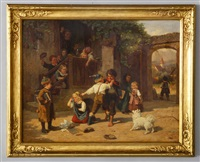 depicting a schoolyard scene with children and schoolmaster by karl böker