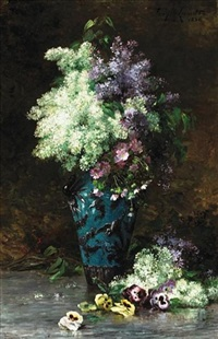 a still life of lilacs, pansies and other flowers in a porcelain vase by albert tibule furcy de lavault