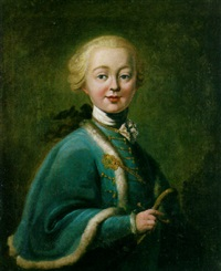 a portrait of tzarina elisabeth petrovna with an ermine-trimmed coat, holding a sword by aleksei petrovich antropov