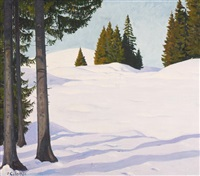 tannen in hügeliger winterlandschaft by plinio colombi