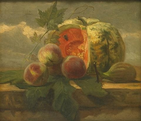 a still life with a melon peaches and a fig by simon saint jean