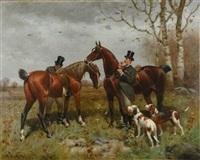 hunters in a landscape by scott leighton