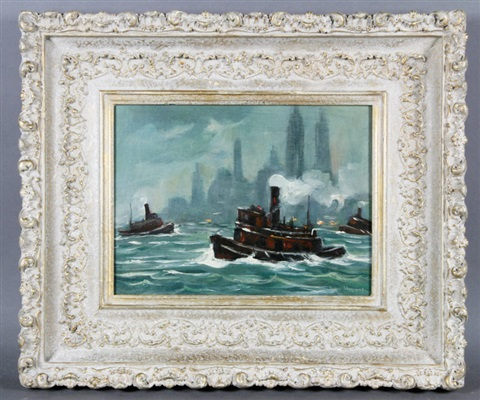 new york harbor with tug boats by guy carleton wiggins