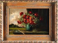 blumenstilleben mit mohnblumen in einer vase by tilly moes