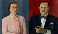 lady dressed in pink (+ gentleman with his pipe; 2 works) by regina seiden goldberg