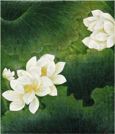 白莲图 white lotus by chen peiqiu