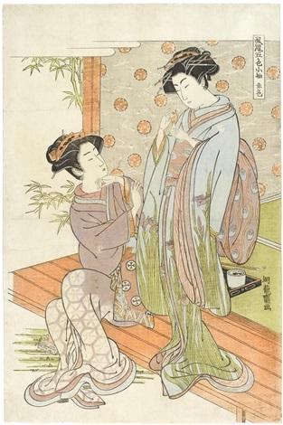 akairo oban tate e from the series furyu go shiki kosode by isoda koryusai