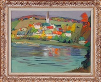 modernist river landscape with church and houses by josef foshko