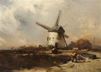 bauern vor der windmühle bei aufkommendem gewitter by charles hoguet