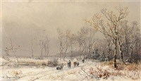 winterlandschaften (pair) by adolf stademann