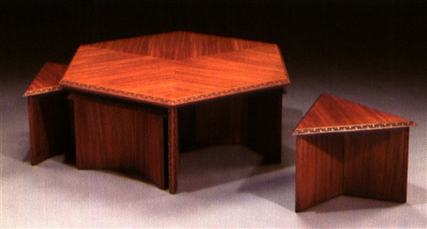 A hexagonal coffee table and six stools for Heritage Henredon 2000
