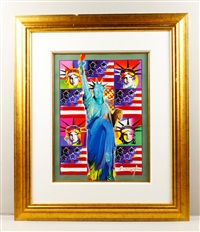 god bless america with flag by peter max
