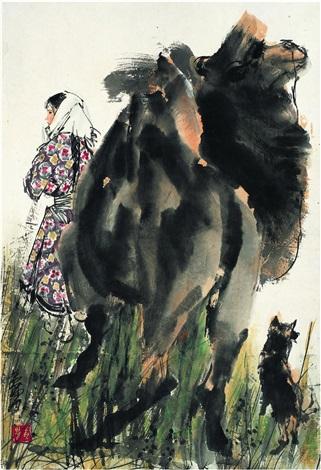 牧归图 girl camel and dog by huang zhou