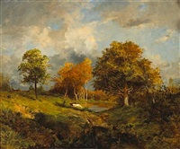 a wooded landscape with cattle and a figure by a pond by marie ferdinand jacomin
