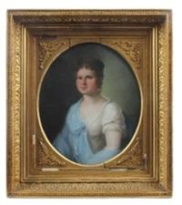 porträt einer dame im biedermeierkleid by johann friedrich karl kreul