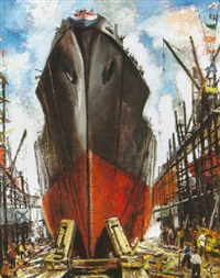 launching the ship by george alexander picken