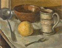 still-life with orange and utensils (+ still-life with bowler hat, verso) by paul sinclair andrew