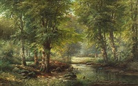 a wooded river landscape by j. rollier