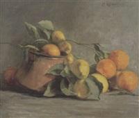 stilleben mit orangen und zitronen by olga kopetzky