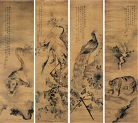 翎毛走兽屏 (beasts) (in 4 parts) by liu xiling