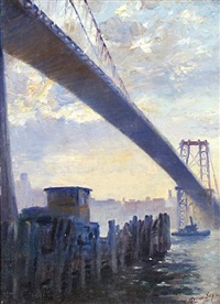 early in the morning under the williamsburg bridge by george sepp
