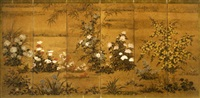flowering plants (six panel screen) by japanese school-rimpa (18)
