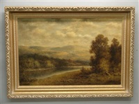 landscape, river valley with mountains in background with stormy skies by thomas b. griffin