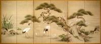 birds and flowers (six panel screen) by japanese school-kano (19)