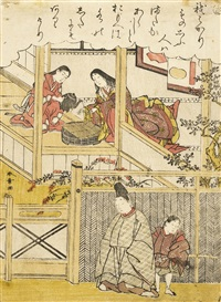 the first of the lady of yamato, episode 20, series number 37 (sa), the second depicting the abandoned lover washing her hands, episode 27, number 38 (ki) in the series furyu nishiki-e ise monogatari... (koban tate-e)(2 works) by katsukawa shunsho