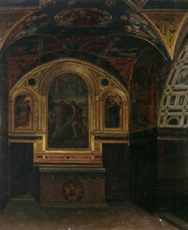a view of a chapel in a church interior by querina fabretti