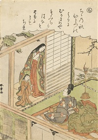 the first of brine carriers, episode 87, series number 20 (ne) and narihira and the ise virgin, episode 94, number 22 (ra) in the series furyu nishiki-e ise monogatari (fashionable brocade pictures of tales of ise)(koban tate-e)(2 works) by katsukawa shunsho